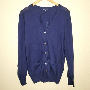 Mens J. Crew Cotton Wool Blend navy Blue Button Up Cardigan Size Small